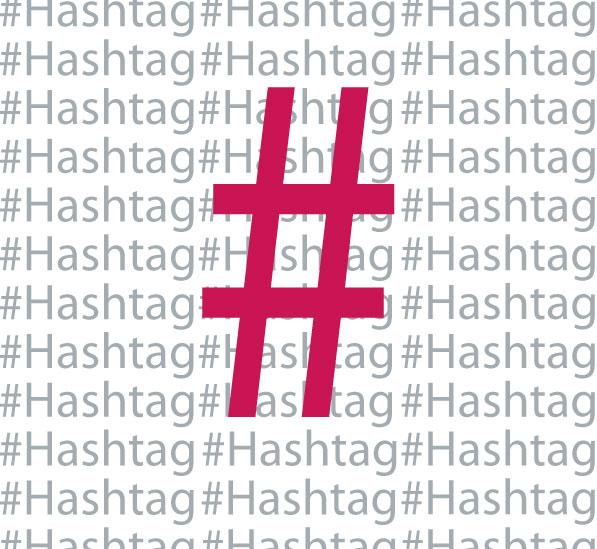 Magenta Hashtag Symbol auf grauen Hashtag-Schriftzügen