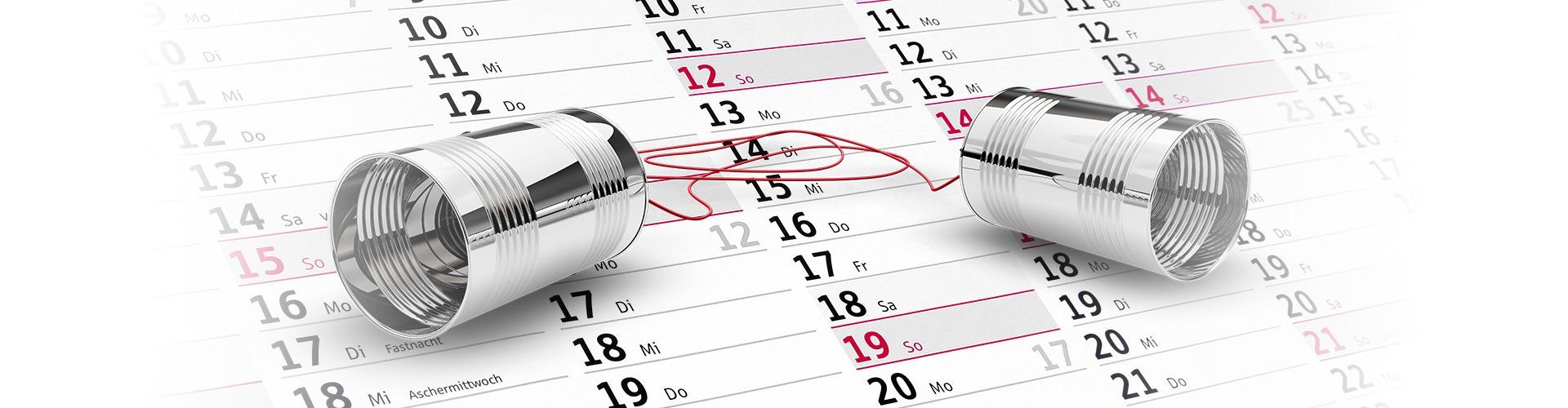 Büchsentelefon auf Kalender
