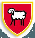 Wappen mit weißem Schaf auf rotem Grund