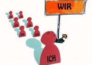 """Schematisierte Individuen mit Schild """"Wir"""""""