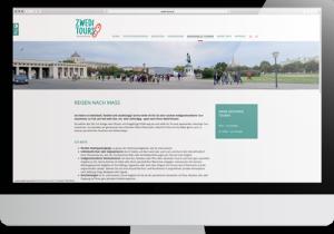 Bildschirm mit geöffneter Website Zwedi Tours