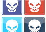 4 Icons mit Totenköpfen